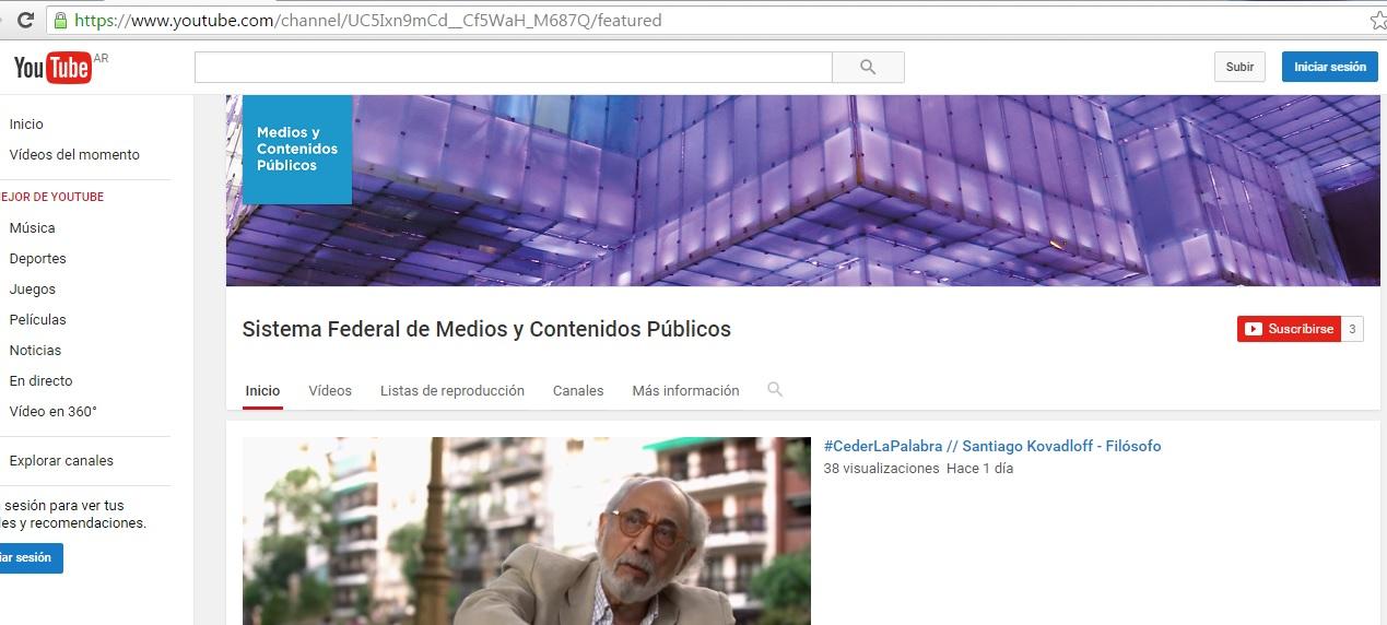 El Sistema Federal de Medios y Contenidos Públicos lanza canal de Youtube