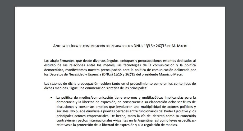 Investigadores se pronuncian en contra de la política de comunicación de Mauricio Macri
