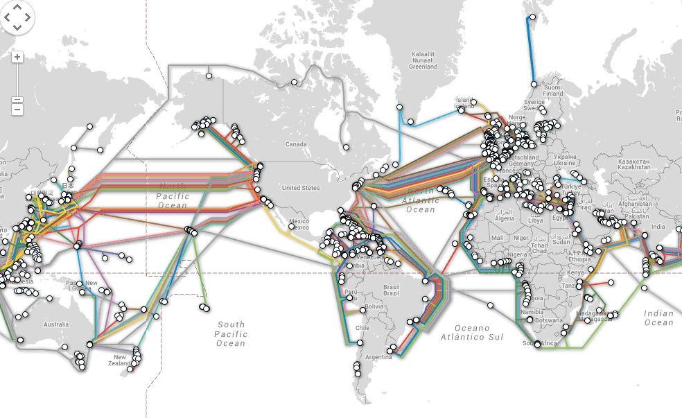Mapa Mundi Del Cableado De Internet