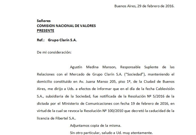 El Ministerio de Comunicaciones revocó la resolución que decreta la caducidad de Fibertel