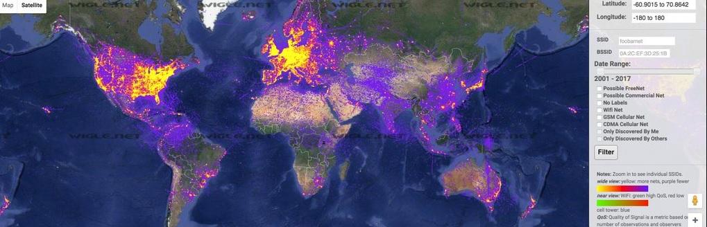 Mapa de densidad de red WiFI en el Mundo